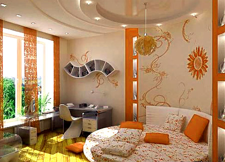 Оранжевый цвет в детской комнате поднимает настроение ребенка