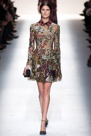 Растительный рисунок на платье осень-зима 2014-15