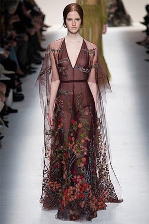 Цветочные рисунки на платье осень-зима 2014/15 (фото)