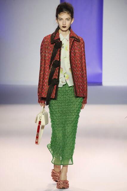 Модная зеленая юбка 2016-2017 из коллекции Marco de Vincenzo