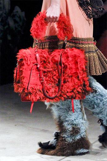 Меховая сумка из коллекции Prada