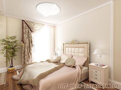 Спальня в светло-бежевых тонах. Фото.