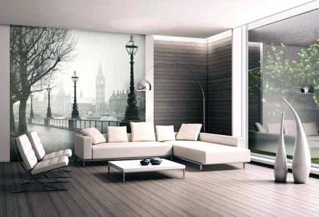 Интерьер гостиной с фотообоями - городской пейзаж