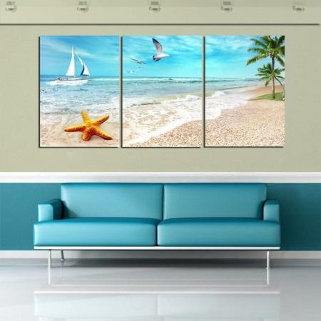 Картина в гостиной с изображением морского пейзажа (фото)