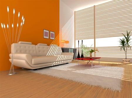 Красивая позитивная гостиная в оранжевом цвете (фото)