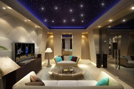 Освещение гостиной - потолок ночное небо