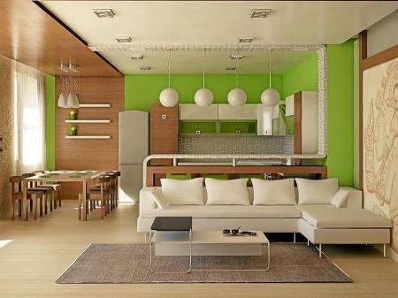 Выделение зоны приема пищи в гостиной (фото)