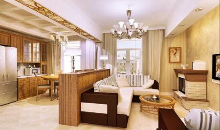 Решение зонирования в гостиной большой площади (фото)