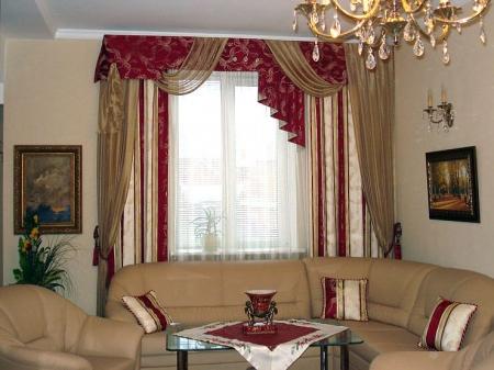 Красивые шторы для гостиной в интерьере (фото)