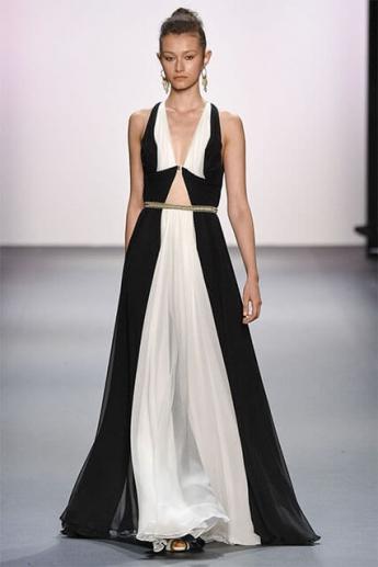 Вечернее платье 2017 черно-белой расцветки (фото)