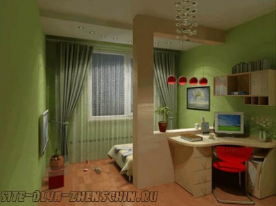 Выделение зоны сна декоративной стойкой