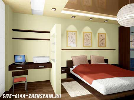 Выделение спальной зоны и рабочего места с помощью декоративной перегородки. Фото.
