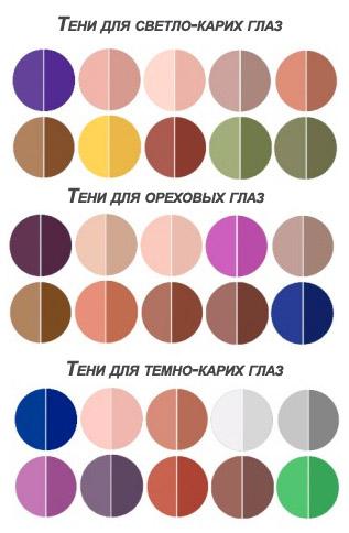 Цвета теней для карих глаз (рисунок, схема)
